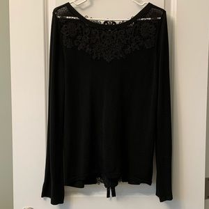 WHBK Black Sweater Top With Lace Pattern